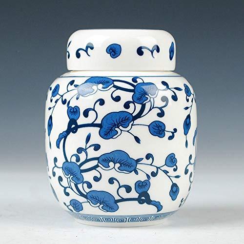 LPQA Estatuas Figuritas Decoración Caja De Carrito De Té Caja De Almacenamiento De Tarro De Té De Kung Fu De Porcelana Blanca Y Azul Sellada
