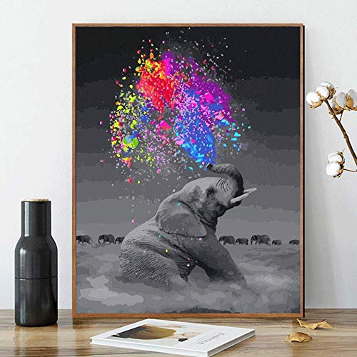 Kimily DIY Paint by Numbers for Adults Kids Elephant Paint by Numbers Animals DIY Painting Elephant Acrylic Paint by Numbers Painting Kit Home Wall Living Room Bedroom Decoration Animal Elephant