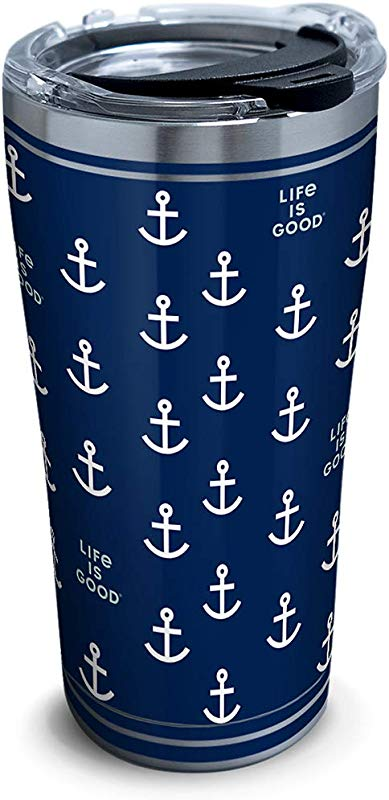 Tervis 1314677 Life Is Good Navy Anchor Pattern Stainless Steel Insulated Tumbler With Lid 20 Oz Silver