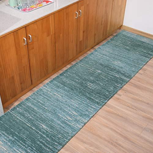 Hallway Runner Rugs Non Slip Machine Washable - Contemporary Modern Blue Stripe Abstract 2'3