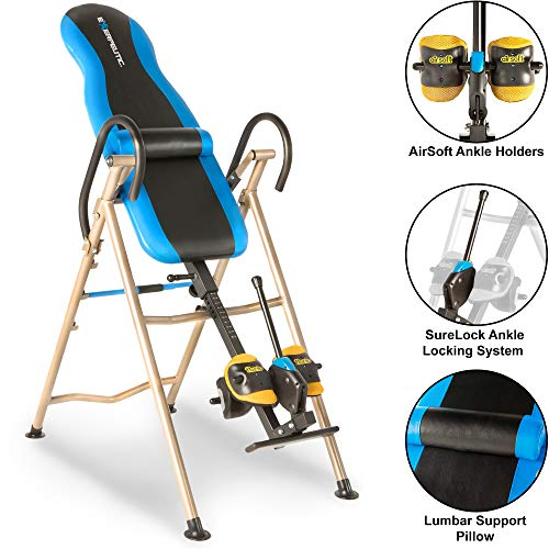 Best Price! EXERPEUTIC 225SL Inversion Table with Airsoft No Pinch Ankle Holders, 'SURELOCK' Saf...