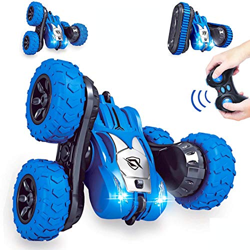 SZJJX Remote Control Car 2 in 1 Tire Switching RC Stunt Cars 4WD 2.4Ghz Double Sided Rotating Vehicles 360° Flips, Kids Toy Trucks with Headlights for Boys 4-7 8-12