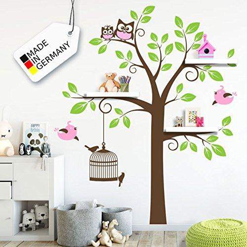 Wandora W1334 Wandtattoo 3-Farbiger Baum mit Vögeln & Eulen Hellrosa/braun / gelbgrün (BxH) 122 x 180 cm