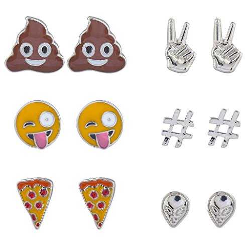 Lux Accessories Emoji Poop Peace Sign Pizza Alien Hashtag Earring Set (6pc)