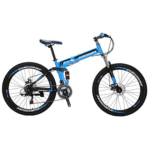 Eurobike Mountain Bike G4 21 Speed 26 Inches Wheel Dual Suspension Folding Bicycle Blue
