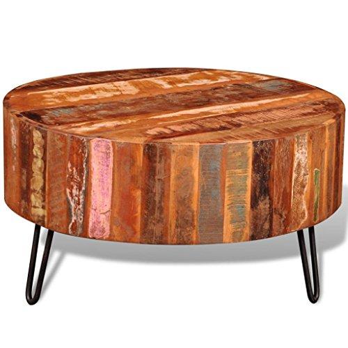 binzhoueushopping Table Basse Ronde en Bois Massif de récupération Taille Totale 70 x 38 cm (diamètre x H) Table Basse Design Table Stable et sécurisée
