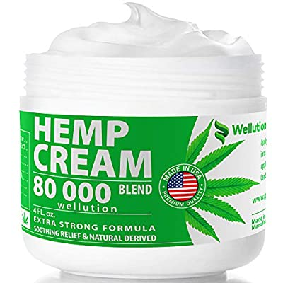 Hemp Cream 80,000 mg Blend – All-Natural Seed Oil Extract for Knee, Lower Back, Feet, Wrist and Joint Pain Relief - Extra Strength Massage Lotion with Arnica, Menthol and Organic Oils by WELLUTION
