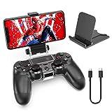OIVO Support Telephone pour Manette PS4 avec Ajustable Support Smartphone, Support Clip Téléphone pour PS4 Contrôleur avec Câble OTG pour Samsung Sony Hauwei HTC LG