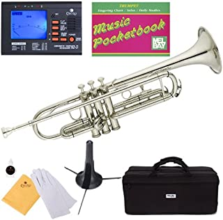 Mendini MTT-N Nickel Plated Bb Trumpet + Tuner, Case, Stand, Mouthpiece, Pocketbook & More