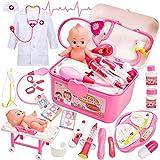 Buyger Malette Docteur Enfant Jouet Deguisement Docteur Fille Jeu d'imitation Medecin Outils Cadeau pour Enfant (Rose)
