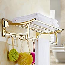 Shower Organizer 304 Stainless Stel Polished Gold Towel Racks Wall Mounted Europea Antique Towel Stands for Bathroom Acces...
