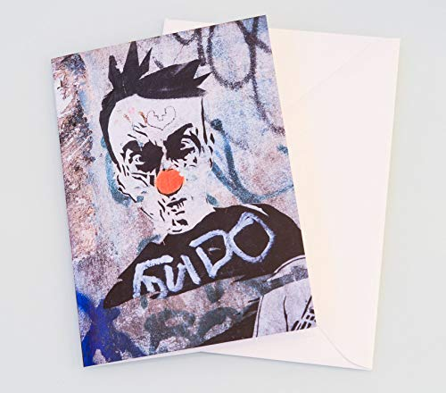 Foto Grußkarte Graffiti böser Clown Musiker - Klappkarte mit Umschlag - Format C6