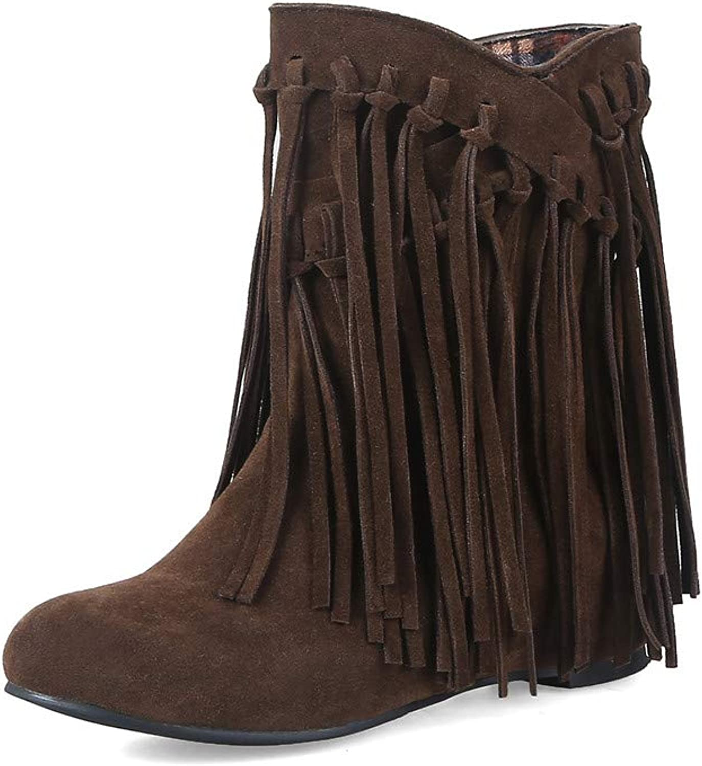 HILIB Woman's Low Heel Tassle Ankle Boots Autumn Winter Wedge Boots