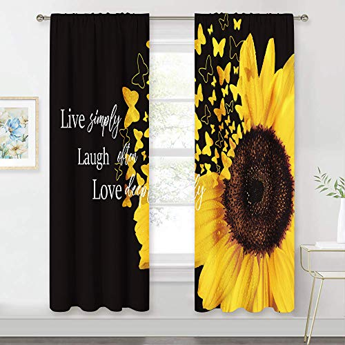 Meshelly Sunflower Curtains 42 (w) X 63(h) Inch Rod Pocket Motivational Floral Quote Live Simply Sunflower Design Yellow Black Living Room Bedroom Window Drapes Treatment Fabric 2 Panels