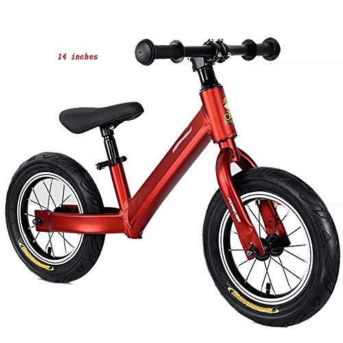 YumEIGE wieltjes 12 14 inch kinderwiel, wielen geanodiseerd aluminiumlegering, loopwiel instelbare zitting voor kinderen 33-51 cm groot 14in rood
