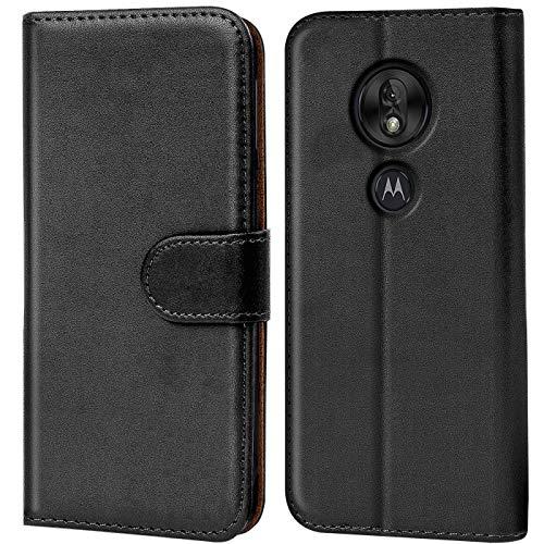 Verco Moto G7 Play Hülle, Handyhülle für Motorola Moto G7 Play Tasche PU Leder Flip Hülle Brieftasche - Schwarz