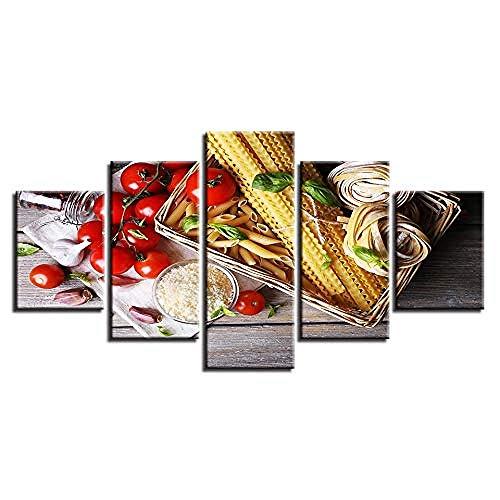 RomantiassLu 5 pezzi HD Stampa cibo Aglio Pomodorini Pomodori Pittura Poster Modulari Immagini su Tela consecutivi Modern Home Living Room Decor Wall Art Frameless