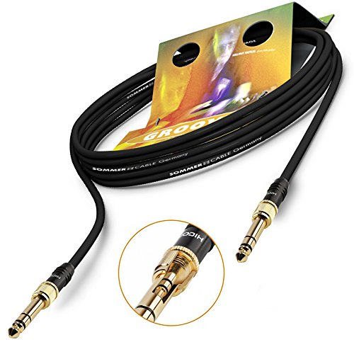 SOMMER CABLE 5m Patch- Adapterkabel 6,3mm / 3,5mm Mini-Klinke Stecker Auf 6,3mm / 3,5mm Klinke HICON HI-J3563S 3-pol Goblin Stereo | GOHM-0500-SW (schwarz)