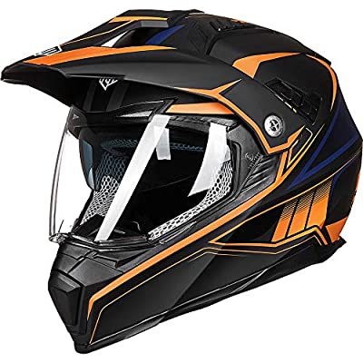 ILM Off Road Motorcycle Dual Sport Helmet Full Face Sun Visor Dirt Bike ATV Motocross Casco DOT Certified (L, Orange)