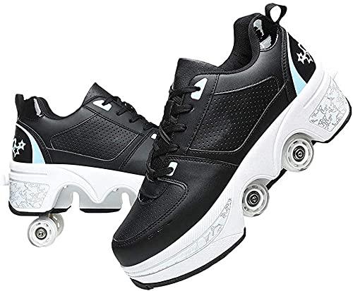 Eortzzpc Patines Patines de Rodillos de deformación 2 en 1 Patinaje de polea Invisible extraíble Zapatos automáticos para Caminar con Rueda deforme de Doble Fila para Adulto y niño (Color : 33)
