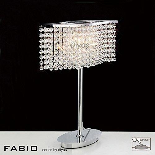 Inspired Diyas - Fabio - Lámpara de mesa 2 Cromo pulido claro, Cristal
