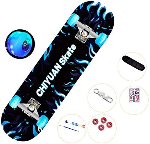 Xiaokang Skateboard de Cuatro Ruedas Churd's Boy Road Skateboard Scrub Frote de Cuatro Ruedas Scooter,E