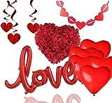 TK Gruppe Timo Klingler XXL Valentinstag 2020 Dekoration Deko Set - mit Herzluftballons, Girlande, Love Folienballon, Rosenblätter - Für Sie & Ihn - Freundin & Freund (XXL)