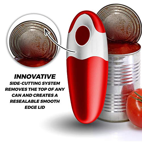 Chef's Star Smooth Edge Automatic Electric Can Opener, (Red) 4 AA batteries are included