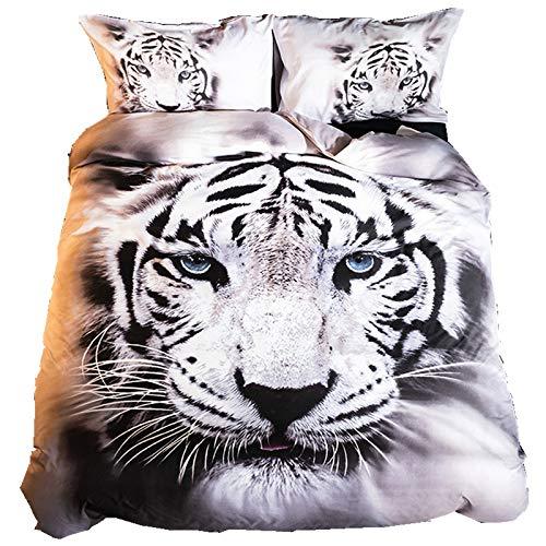 BH-JJSMGS Funda de Almohada y Funda de Almohada de Tigre Animal 3D, fácil de cuidar, Suave Microfibra, Resistencia al desvanecimiento y a Las Manchas, Tigre US-Queen228 * 228cm (Tres Piezas)