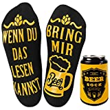 Tuopuda Bier-Socken Lustige Socken Damen Herren Socken WENN DU DAS LESEN KANNST BRING MIR BEER Wintersocken Socken Baumwollsocken Knöchel Socken