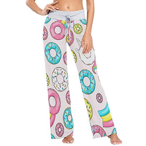Pantalones de Pijama de Pierna Ancha elásticos para Mujer Pantalones de salón cómodos XL Donuts Coloridos Lindos