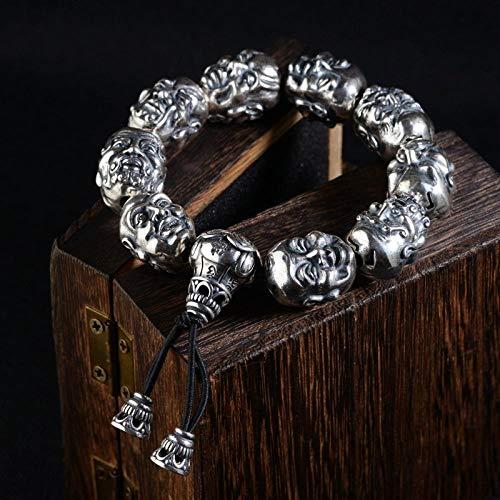 ZGRJIUERYI dames zilveren armband, handgemaakte vintage armband mannen S990 volledige zilver dubbelzijdig graveren 18 luohan zilveren armbanden originele etnische stijl kleding accessoires