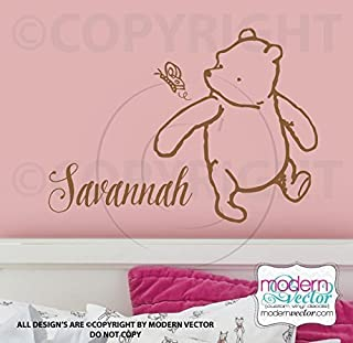 Classic Winnie the Pooh Name Vinyl Wall Decal