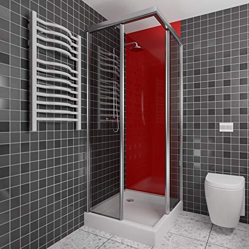 Wallando Wandverkleidung - Kunststoffplatte als Duschrückwand für Dusche/Badewanne - Duschplatte/Duschwand (200x100cm, rot)