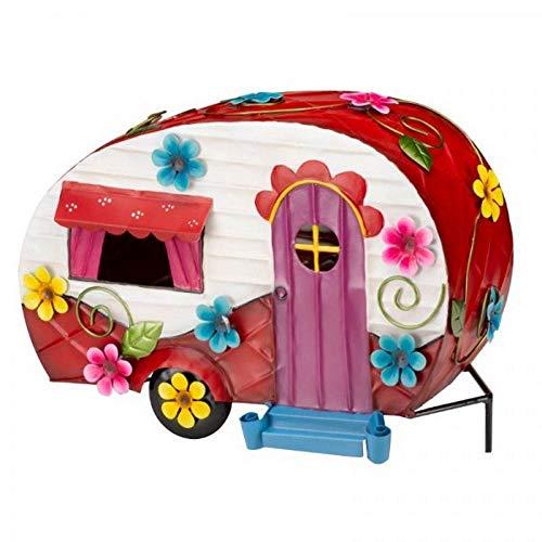 Maison de caravane Flower Power - Décoration de jardin - Peinte à la main - Hautement détaillée - Créez un monde enchanté - Fun, lumineux et coloré