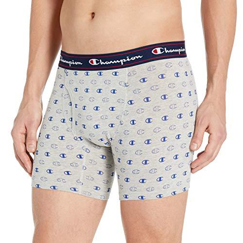 Champion Herren P2 Knit Boxer Brief Slip, Oxford Grey/Surfen im Web, Small