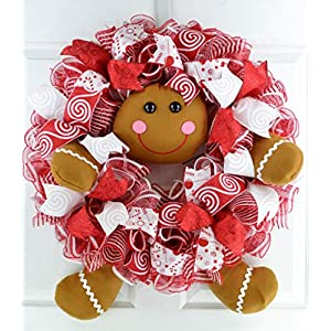 Gingerbread Wreath | Outdoor Christmas Wreath | Mesh Front Door Wreath | Red Brown White
