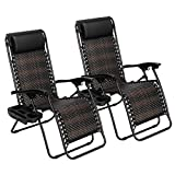 VINGLI Patio Wicker Chair Zero Gravity Chair with Cup Holder and Pillow, Outdoor Folding Rattan Recliner for Garden Patio Porch Balcony Beach Swimming Pool, Outdoor and Indoor Use (2)