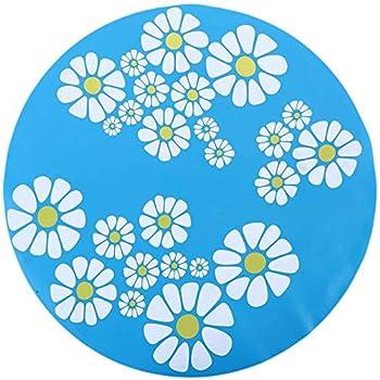 Gshy Tapis en Silicone pour Fontaine à Eau de Chien Chat 1PCS Impressions de Fleurs Coussin Anti Slip pour Animaux De Compagnie Accessoires d'alimentation (Bleu)