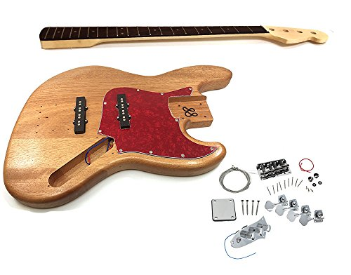 Solo Jazz Bass Style DIY Guitar Kit, Basswood Body, Maple Neck Rosewood FB, JBK-1