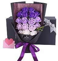 Runwho 枯れない花 ギフト ソープフラワー バラ 花束 結婚祝い 結婚記念日誕生日 バレンタインデー 昇進 転居 新築お祝い 還暦 母の日 プレゼント フラワーボックス付き (B-02-パープル)