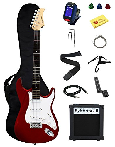 Stedman Pro Ymc Full Size Electric Guitar With Amp, Case And Accessories Pack Beginner Starter Package, Metallic Red
