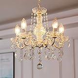 Lampadario in cristallo Saint Mossi 5 bracci/luci E14 Lampada base ruggine artigianale vintage, lampadario soggiorno lampadario camera letto, Larghezza 43cm, Altezza 40cm