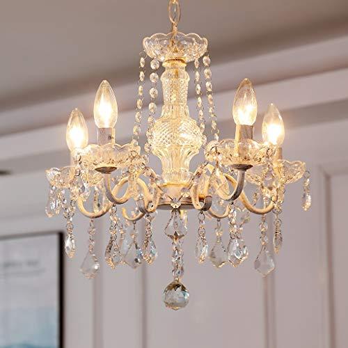 Saint Mossi Kristallglas Kronleuchter Deckenleuchte / 5 Arme/Lichter E14 Lampensockel Handmade vintage weiß lackiert