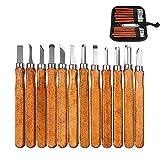 mreechan Coltello da intaglio,12Pcs Kit di strumenti per intaglio del legno in acciaio SK2...