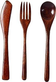 Hemoton Cuchillo Tenedor Cuchara Juego Cubiertos de Madera Vajilla Cubiertos portátiles para Restaurante en casa (Tres Piezas)