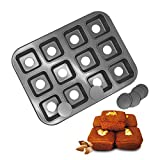 HOMOW Non-Stick Bakeware Brownie Bar Baking Pan, Mini Cheesecake Pan Cupcake Pan with Removable Bottom, Square Cake Pan,12-Cavity (13.8' x 10.4' x 1.4')
