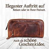 Corno d´Oro Großer Leder Kulturbeutel Damen & Herren I Männer Kulturtasche für Handgepäck & Koffer I Frauen XL Kosmetiktasche braun CD500 - 4