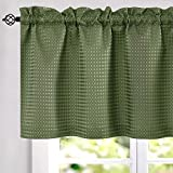 jinchan Waffle-Weave Textured Valance for Kitchen Water-Proof Window Curtains 60 inch x 18 inch Sage One Panel