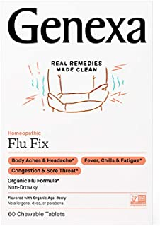 Genexa Flu Fix – 60 Tablets | Certified Organic & Non-GMO, Physician Formulated, Homeopathic | Multi-Sympto...